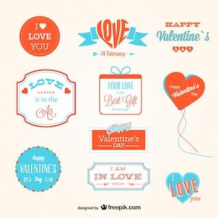 Abzeichen Sammlung schönen Valentinstag