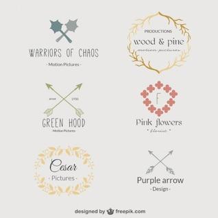 Retro-Blumenschablone Logos
