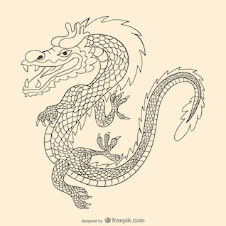 Asiatischen Hand gezeichnet Drachen