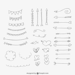 Hand gezeichnet Ornamente, Herzen und Pfeile