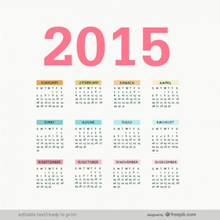 Editierbare 2015 vector Kalender