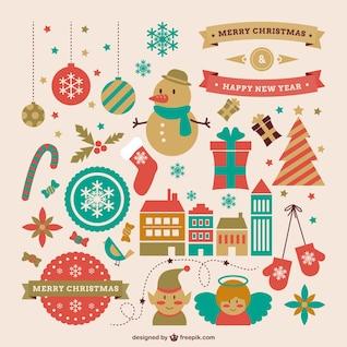 Retro-Stil Grafik-Ressourcen für Weihnachten