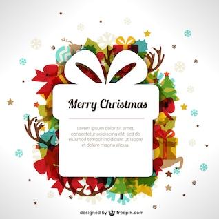 Weihnachten-Vorlage mit Geschenk-Box