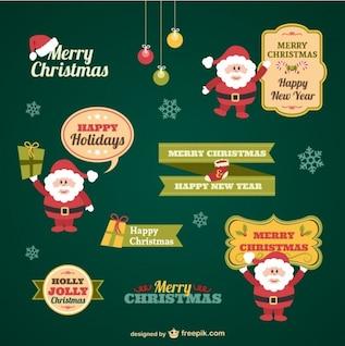 Weinlese-Weihnachtsaufkleber Sammlung