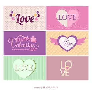 Vintage-Karten zum Valentinstag