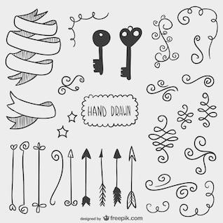 Zeichneten Pfeile, Schlüssel und andere Ziergegenstände