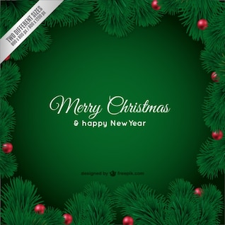 Weihnachtskarte mit grünen Blättern