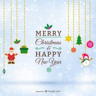 Weihnachtskarte mit hängenden Verzierungen