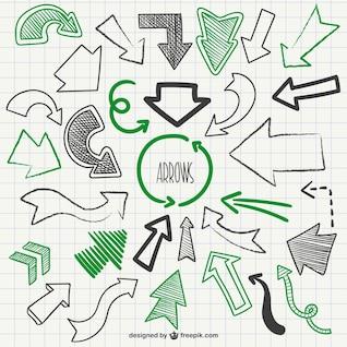 Grüne und schwarze skizzen Pfeile