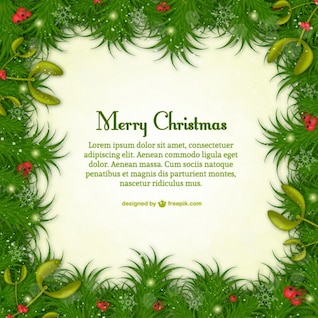 Frohe Weihnachten-Vorlage mit grünen Blättern