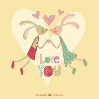 Valentine Kaninchen Cartoon