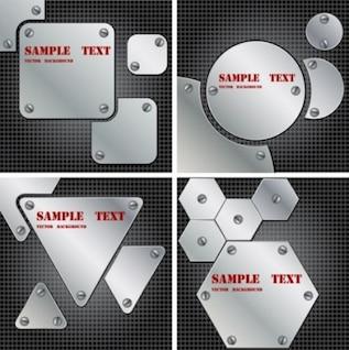 Metallischen Schrauben Platten Vektor Pack