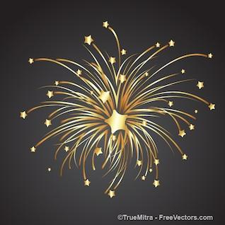 Goldenen Stern explodiert in kleinere