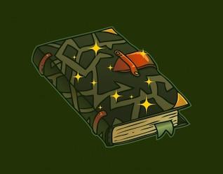 Dunkle Hexe Buch im Cartoon-Stil