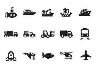 Grau Transport Icon Set Vektor