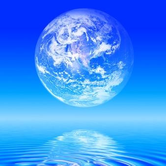 Abstrakte Planeten Erde über dem Meer