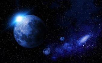 Abstrakte Raumszene mit fiktiven Planeten