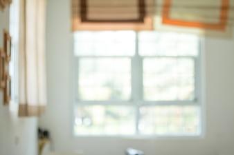 Abstrakte unscharfe Wohnzimmer Dekoration Interieur für Hintergrund, natürliches Licht mit Glasfenstern in Raum