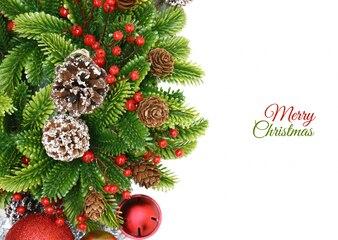 Adventskranz Hintergrund mit Beeren Glocken und Tannenzapfen