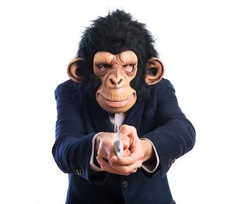 Affe Mann mit Messer