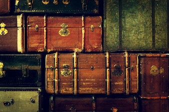 Antike Reisetaschen gestapelt
