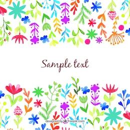 Aquarell Blumen und Blätter Hintergrund
