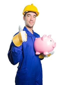 Arbeiter besorgt über seine Wirtschaft auf weißem Hintergrund