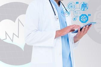 Arzt Überprüfung einer Tablette