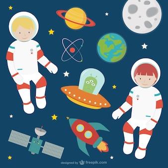 Astronauten und Raumzeiger