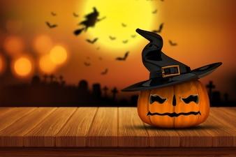 Auf einem Holztisch mit einem defocussed gespenstischen Friedhof Bild im Hintergrund übertragen von einer Halloween-Kürbis 3D