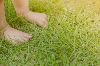 Babyfüße auf dem Rasen