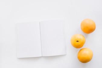 Buchdeckel Mockup mit Orangen
