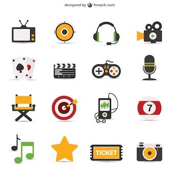 Bunte ikonische Objekte