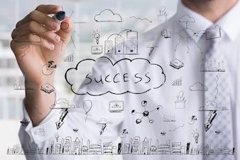 Businessman Zeichnung der Schlüssel zum Erfolg