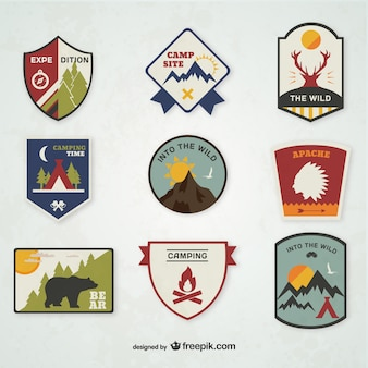 Camping-Embleme eingestellt