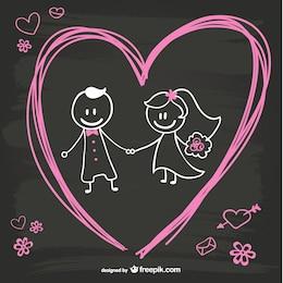 Cartoon Braut und Bräutigam Tafel-Design