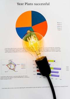 Charts mit einer Glühbirne auf der Oberseite