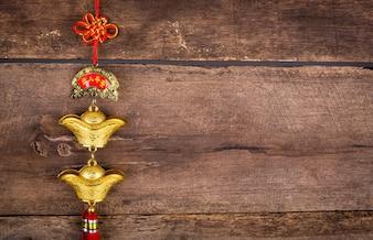 Chinese New Year Dekoration auf Holz Wand