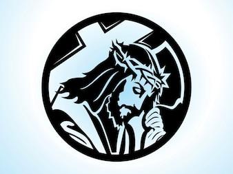 Christentum Jesus mit Kreuz Vektor