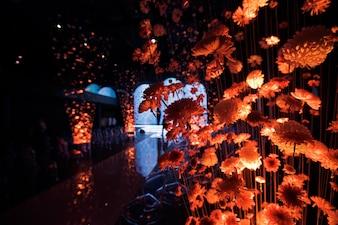 Chrysanthemen, die mit Orangenlicht beleuchtet sind, hängen auf Fäden in der Halle