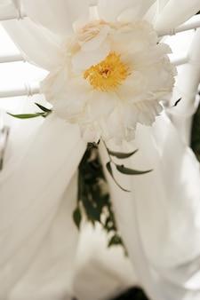 Close-up der großen weißen Blume hängen auf dem Stuhl