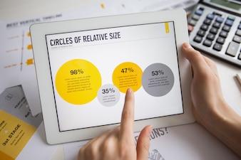 Close-up von Touchpad in Händen der weiblichen Manager