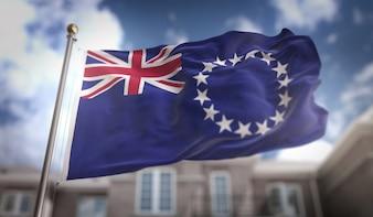 Cook-Inseln Flagge 3D-Rendering auf blauem Himmel Gebäude Hintergrund