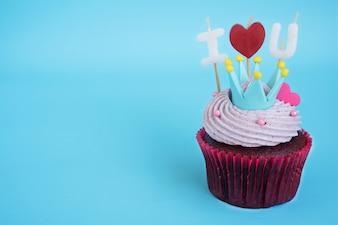 Cupcake mit Ich liebe dich Kerze