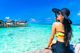 Dame Ozean Sommer Frau Urlaub