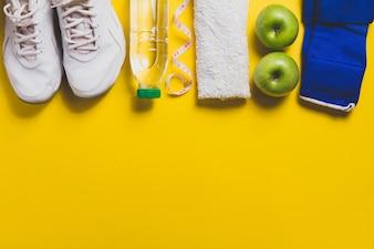 Draufsicht auf Sportzubehör