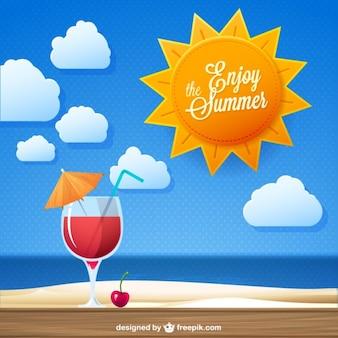 Genießen Sie den Sommer Cocktail trinken Vektor