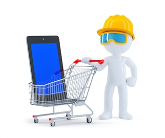 Erbauer mit Einkaufswagen und leerer Bildschirmtablette
