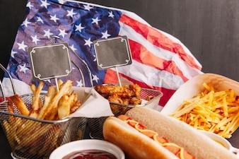 Fast Food Zusammensetzung mit Chips