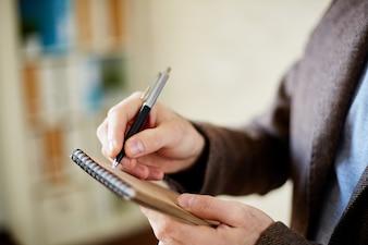 Finger Planung Tagebuch Corporate Idee